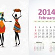 Ethnic Calendar 2014 february — Stock Vector