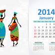Ethnic Calendar 2014 January — Vettoriali Stock