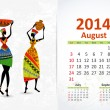 Stock Vector: Ethnic Calendar 2014 august