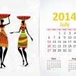 Stock Vector: Ethnic Calendar 2014 july
