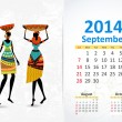Ethnic Calendar 2014 september — Vettoriali Stock