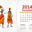 Ethnic Calendar 2014 december — Vettoriali Stock