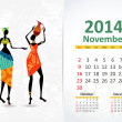 Ethnic Calendar 2014 november — Stock Vector