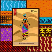Set of seamless textures with African woman — Stock Vector