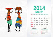 Ethnic Calendar 2014 march — Vettoriale Stock