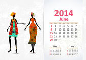 Ethnic Calendar 2014 june — Vettoriale Stock