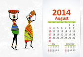 Ethnic Calendar 2014 august — Stock Vector