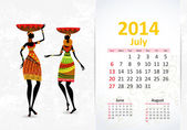 Ethnic Calendar 2014 july — Vettoriale Stock