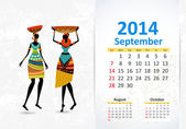 Ethnic Calendar 2014 september — Vettoriale Stock
