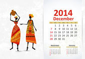 Ethnic Calendar 2014 december — Stock Vector