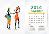 Ethnic Calendar 2014 november — Vettoriale Stock