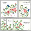 Set of floral cards — Stockvectorbeeld