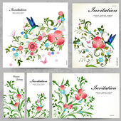 Set of floral cards — Vecteur