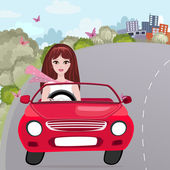 Girl in a red convertible — Stock Vector