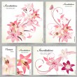 Set of floral cards for your design — Imagens vectoriais em stock