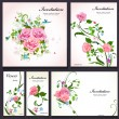 Set of floral cards for your design — Vecteur #35578825