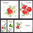 Set of floral cards for your design — Stockvectorbeeld