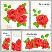 Set of floral cards for your design — Stockvector