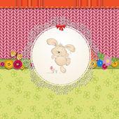 Kaart met teddy konijn voor uw ontwerp — Stockvector