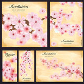 Set of floral cards for your design — Stock vektor