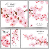 Set of floral cards for your design — Stockvektor