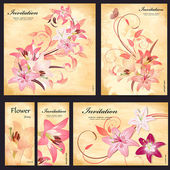 Set of floral cards for your design — Vector de stock
