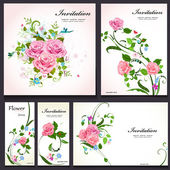 Set of floral cards for your design — Vetorial Stock