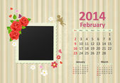 Calendar for 2014, february — Wektor stockowy