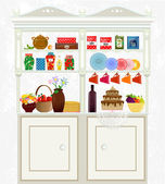 Retro vintage sideboard with dishes and food — Stock Vector