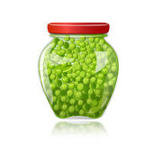 Glass jar of preserved green peas — Vector de stock