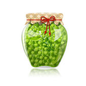 Glass jar of preserved green peas — Stock Vector