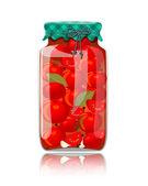 стеклянная банка консервированные помидоры и специи — Cтоковый вектор