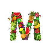 Letter of juicy fruit M — Stock Vector