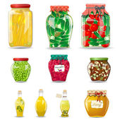 Set of glass jars with preserved vegetables, mushrooms, fruit and honey — Stock Vector