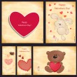 Greeting cards Happy Valentine's Day — Stok Vektör