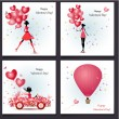 Greeting cards Happy Valentine's Day — Vector de stock