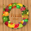 Greeting card of fruit — Stock Vector #38281315