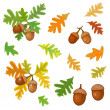 Acorn with leaves — Stock Vector