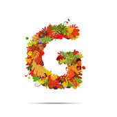 Letter from autumn colorful leaves G — Stock Vector