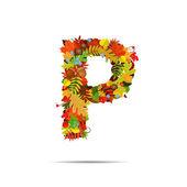 カラフルな秋からの手紙 p を葉します。 — ストックベクタ