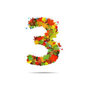 Number from autumn colorful leaves 3 — Stock Vector