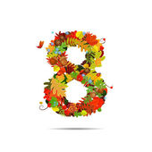 Number from autumn colorful leaves 8 — Stock Vector