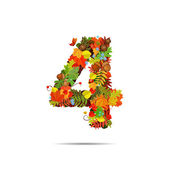 Number from autumn colorful leaves 4 — Stock Vector