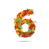 Number from autumn colorful leaves 6 — ストックベクタ