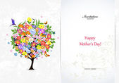 Festive invitation card with abstract tree — Stock Vector