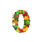 Number of fruit 0 — Stock Vector