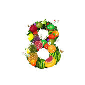 Number of fruit 8 — Stock Vector