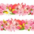 Stock Vector: Seamless border of beauty flowers. Set