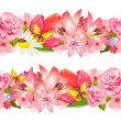 Seamless border of beauty flowers. Set — Stock Vector