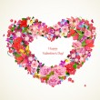 Heart of beauty floral for you design — Stock Vector